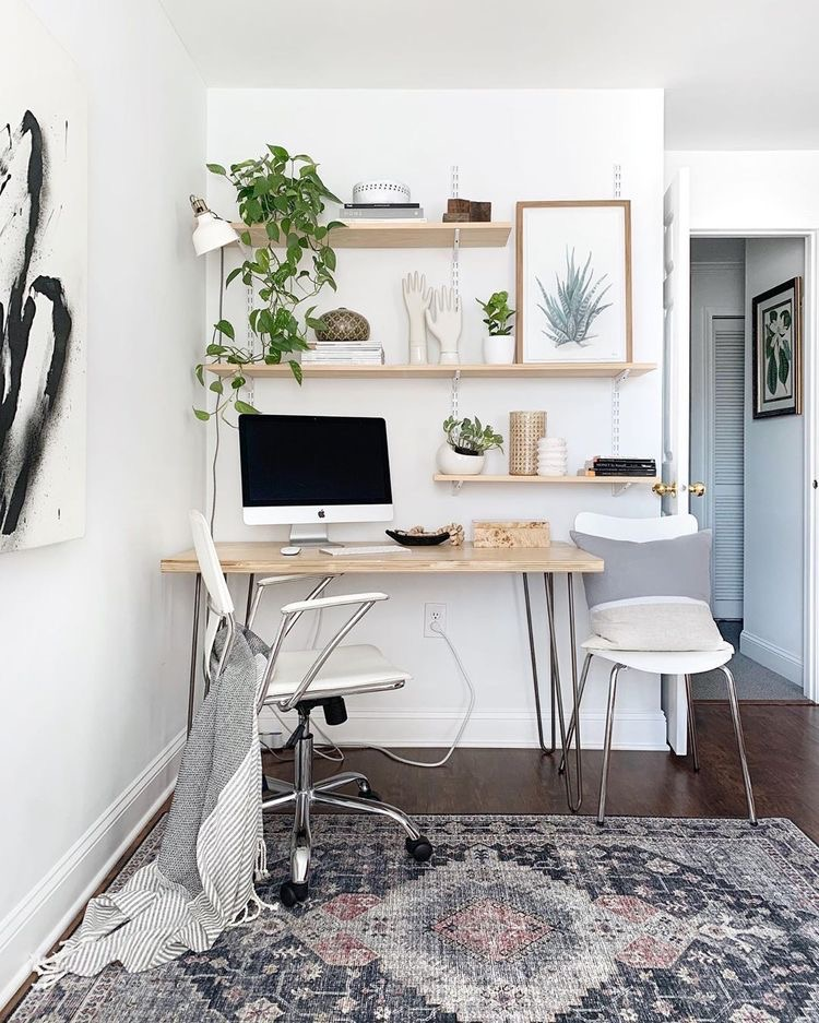 modern wooden desk with hairpin legs, persian rug, bohemian office corner   Home office ideas   Poplolly co