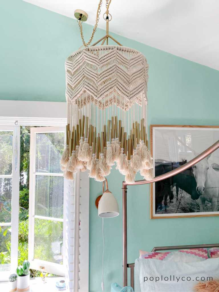 macrame gold boho chandelier from Anthropologie | Poplolly co