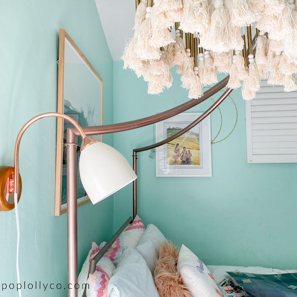 Urban Outfitters rose gold wall sconce in a tween girls boho room | Poplolly co
