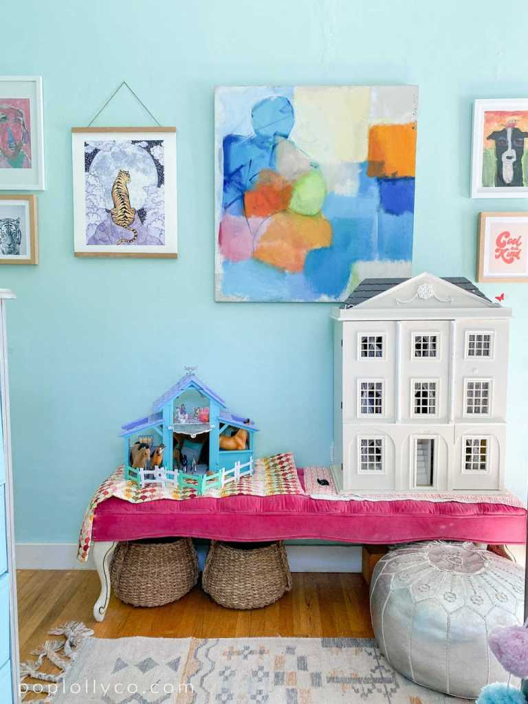 bright tween girls boho room with turquoise walls, fun modern art and vintage touches | Poplolly co