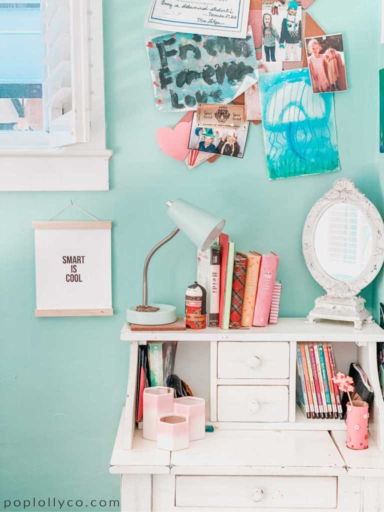 small white desk in tween girls boho room | Poplolly co