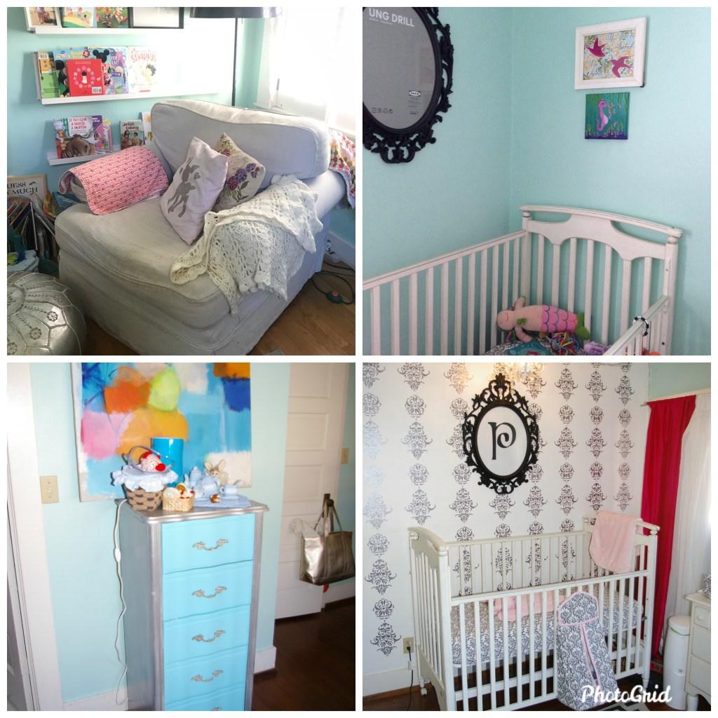 turquoise vintage glam baby nursery