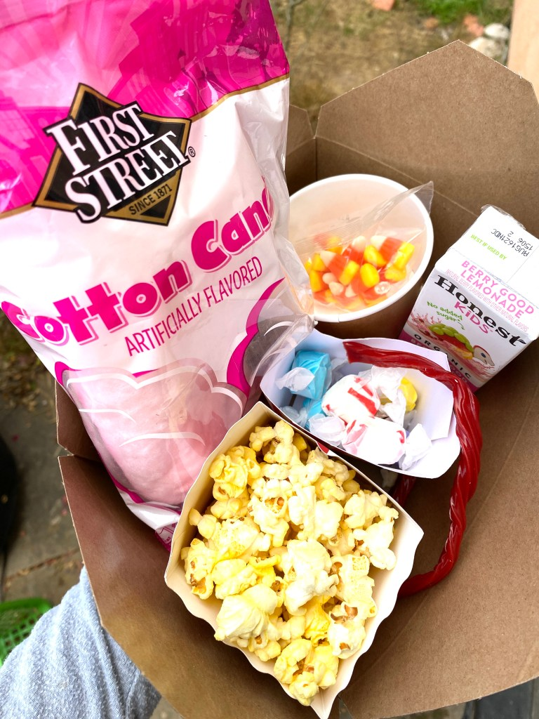 backyard movie night snack trays and ideas for a rustic drive in kids birthday party | Poplolly co