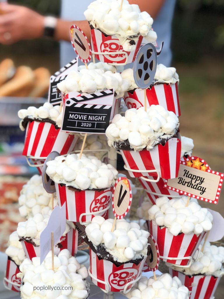 popcorn cupcakes for a movie night party | Poplolly co