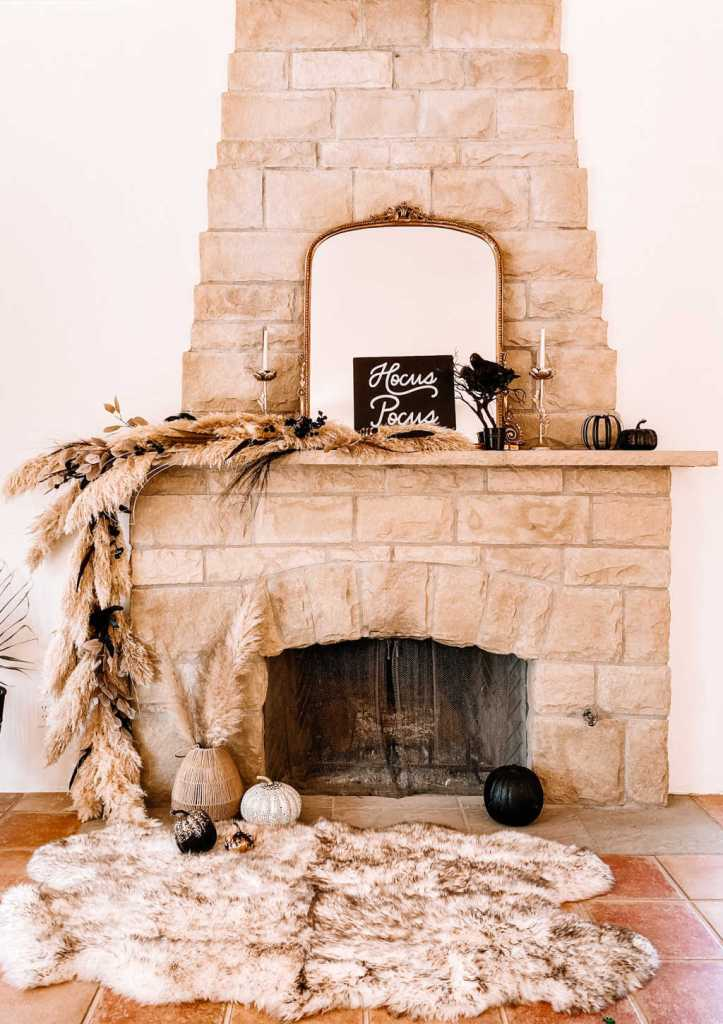 stone fireplace mantle with a pampas grass garland | tutorial | DIY | how to | fall and halloween decor | Poplolly co