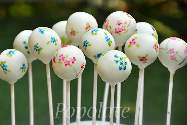 Painted flowers cake pops