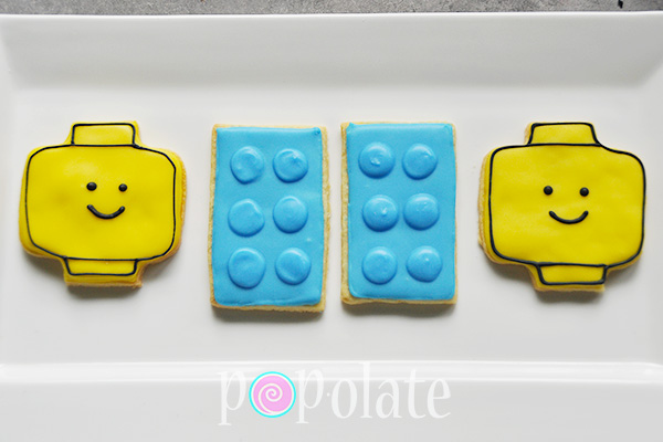 Lego head Lego block iced biscuits