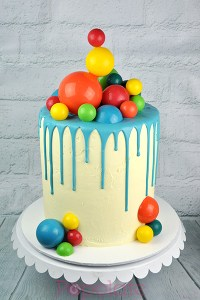 Rainbow chocolate spheres cake