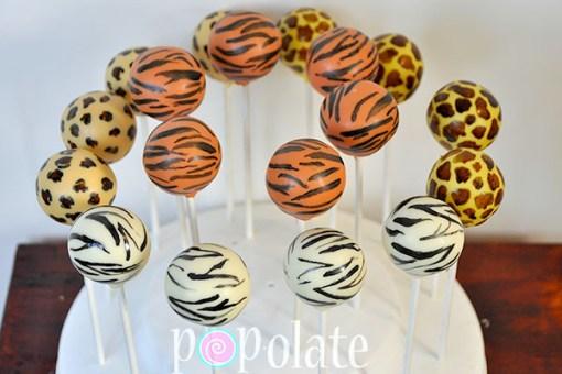 Animal print cake pops zebra tiger leopard giraffe