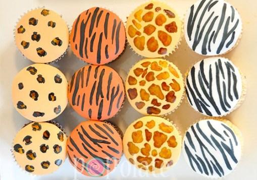 Animal print cupcakes tiger leopard giraffe zebra