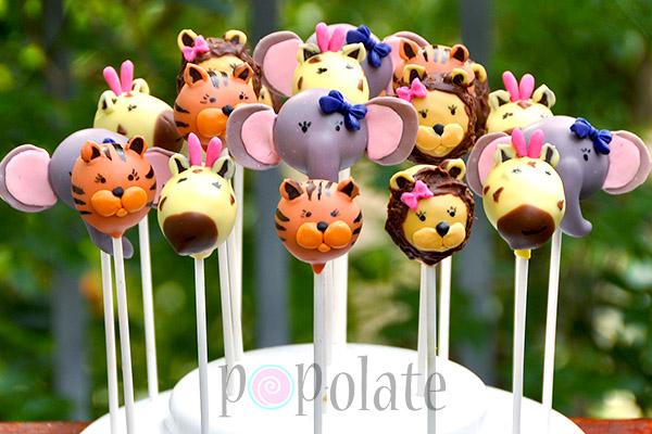Cute girly jungle animal cake pops