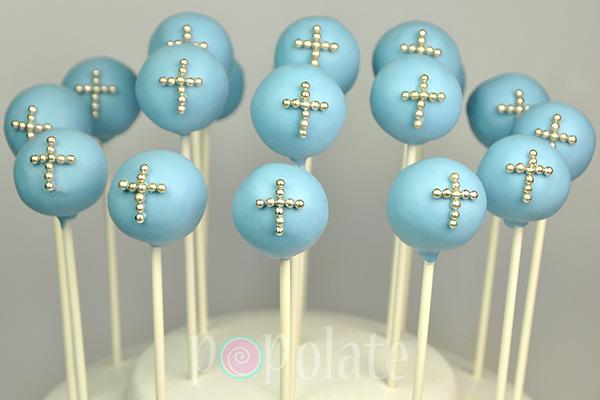 Silver cross blue christening cake pop