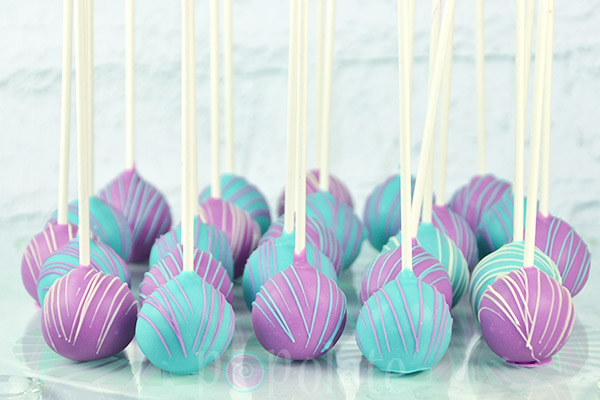 Aqua purple cake pops mermaid
