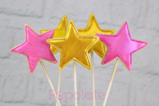 Gold and pink star cookies