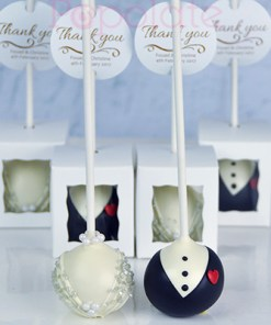 Bride and groom cake pops,