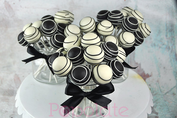 black and white cake pops