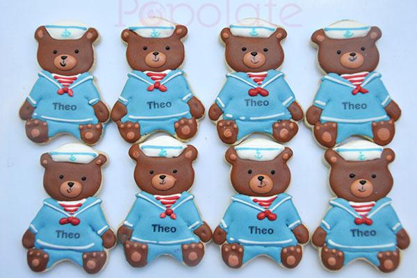 Nautical sailor teddy bear cookie