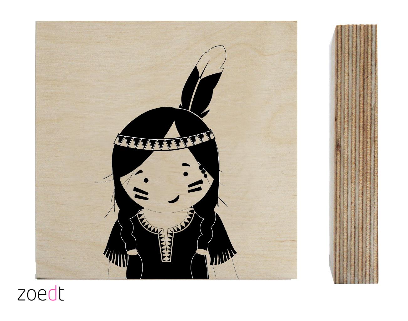 Houten blokje indianenmeisje  Poppedesigns