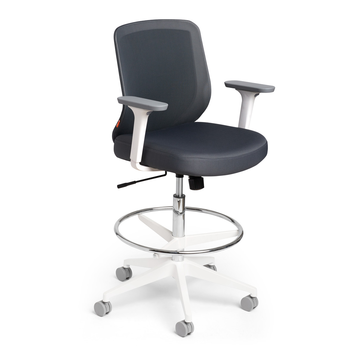 drafting chairs with arms outdoor ottomans max chair mid back white frame modern office furniture dark gray