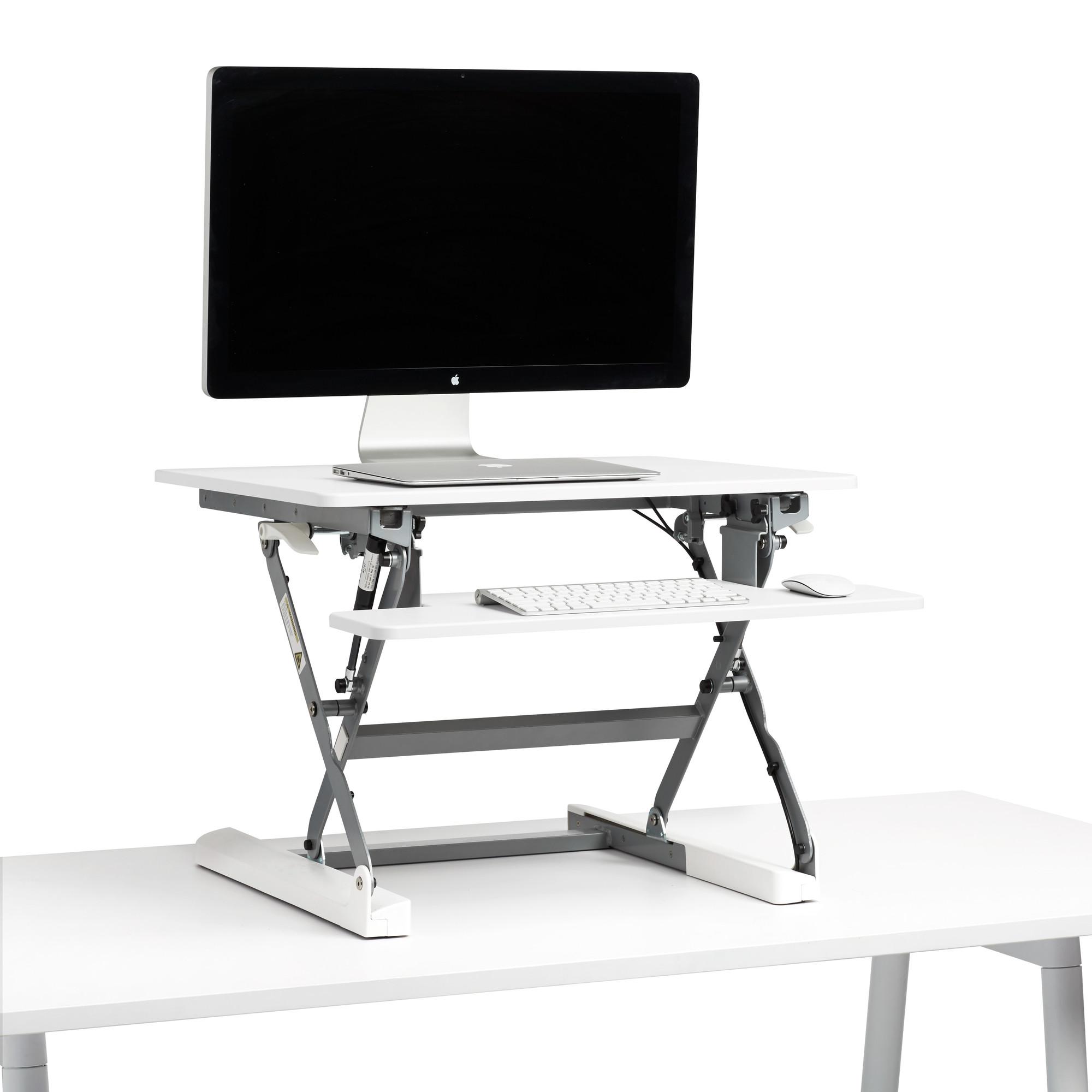 White Small Peak Adjustable Height Standing Desk Riser