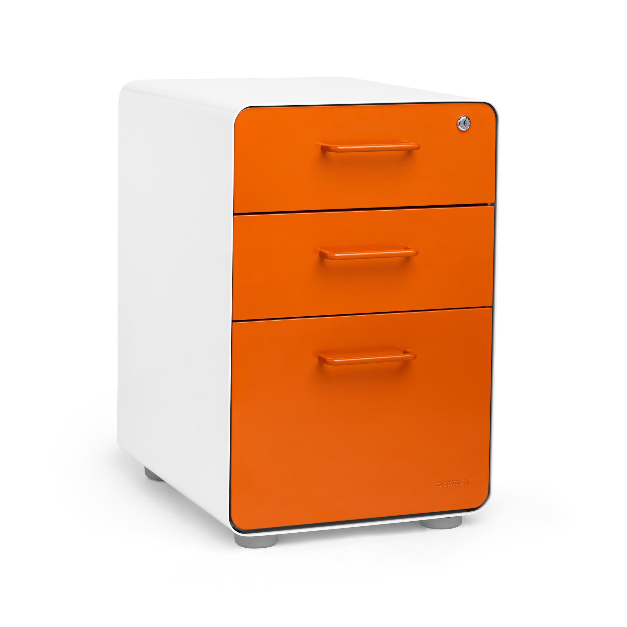 White  Orange Stow 3Drawer File Cabinet  Poppin