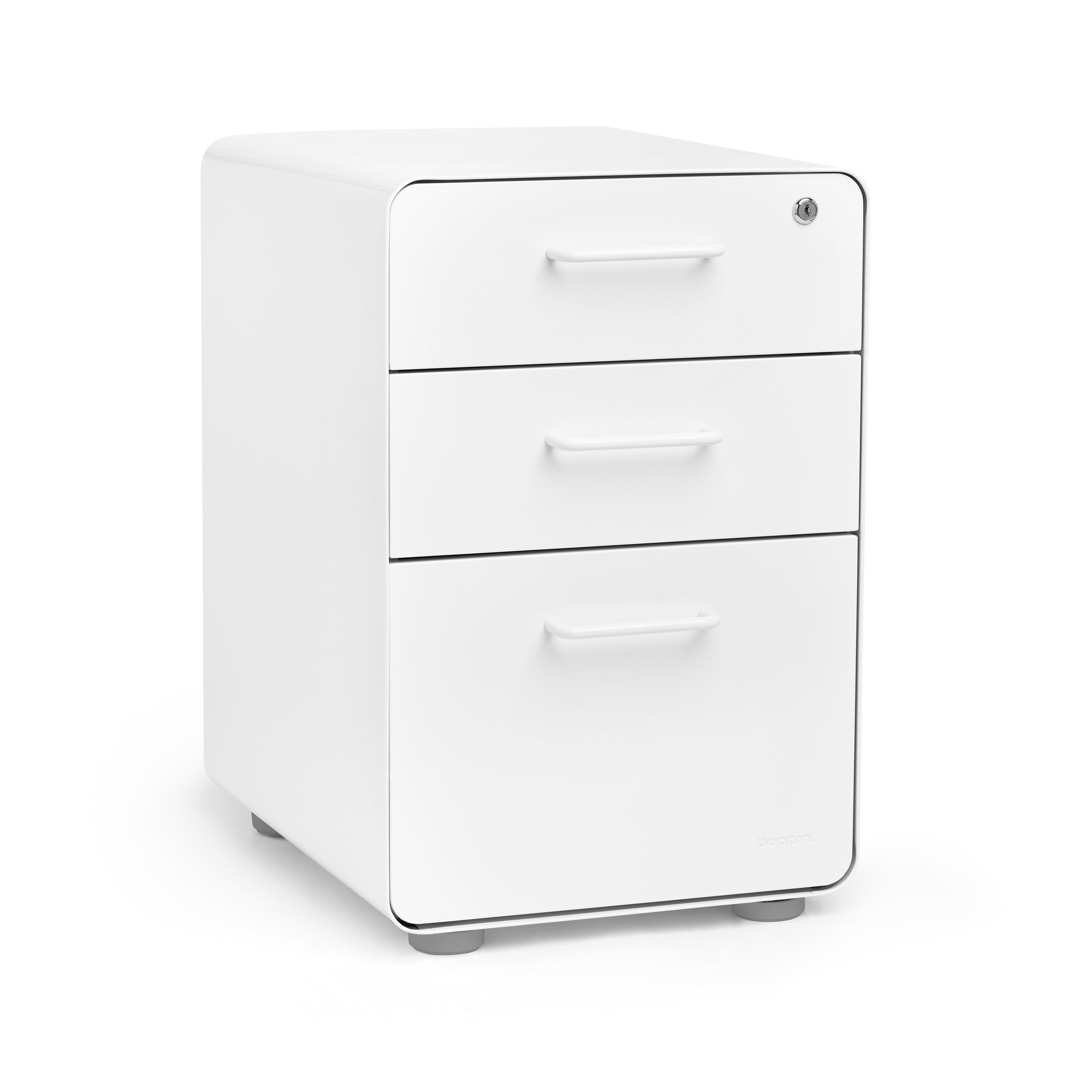 White Stow 3Drawer File Cabinet  Poppin