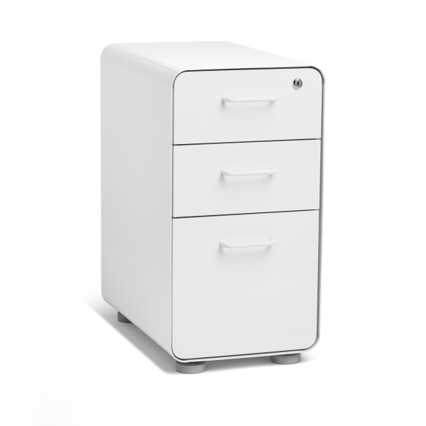 White Slim Stow 3Drawer File Cabinet  File Cabinets  Poppin