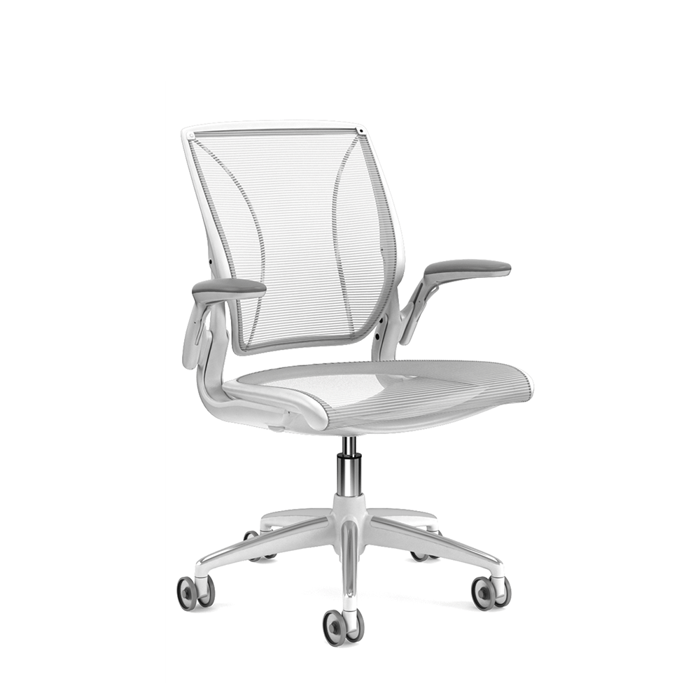office chair with adjustable arms slipcovers for kitchen seats pinstripe mesh white world task frame
