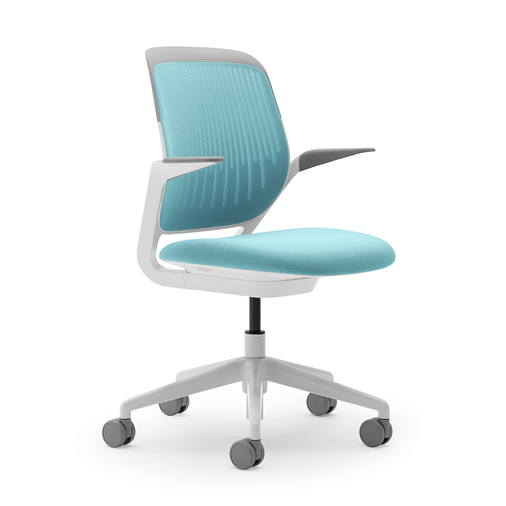 Aqua Cobi Desk Chair with White Frame  Modern Office