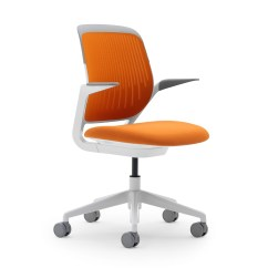Modern White Desk Chair Pads Under Legs Orange Cobi With Frame Office Furniture