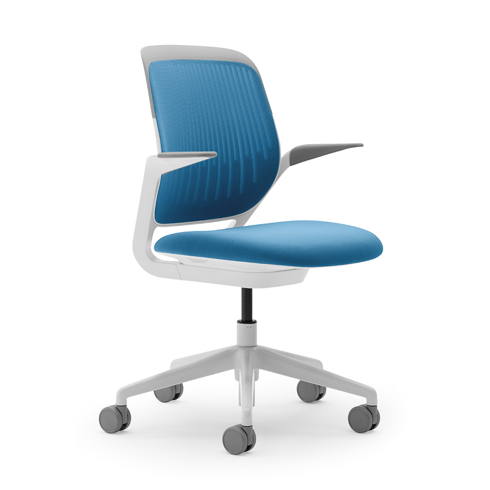 desk chair blue white leather rocking pool cobi with frame modern office furniture