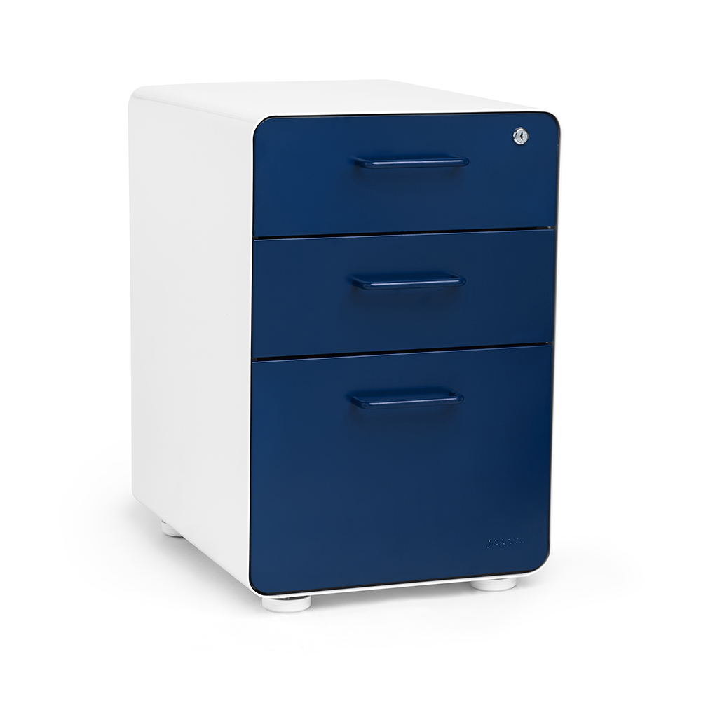 White  Navy Stow 3Drawer File Cabinet  Poppin