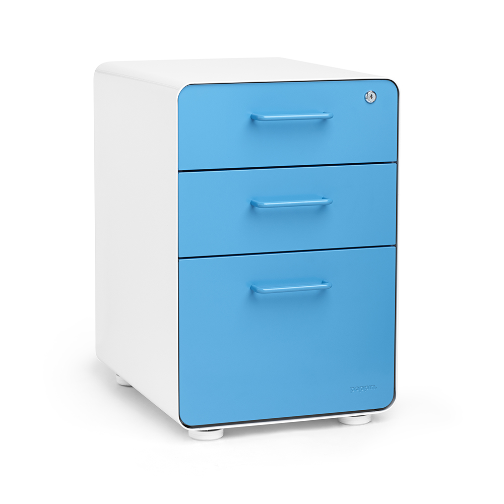 White  Pool Blue Stow 3Drawer File Cabinet  Poppin