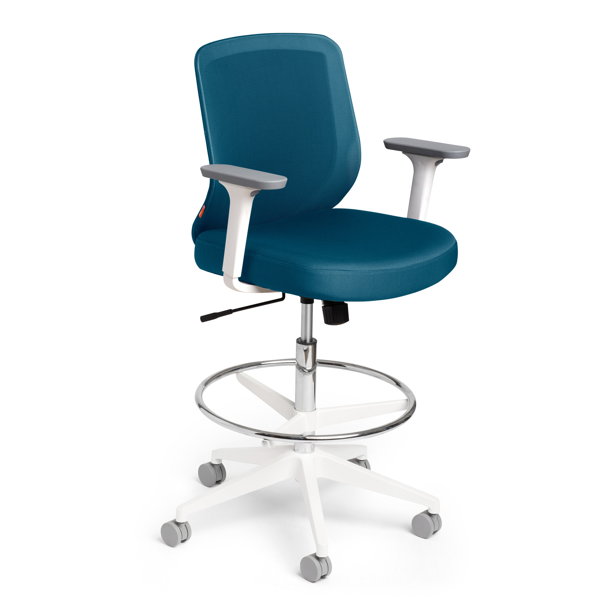 drafting office chair peir one chairs max mid back white frame modern furniture slate blue