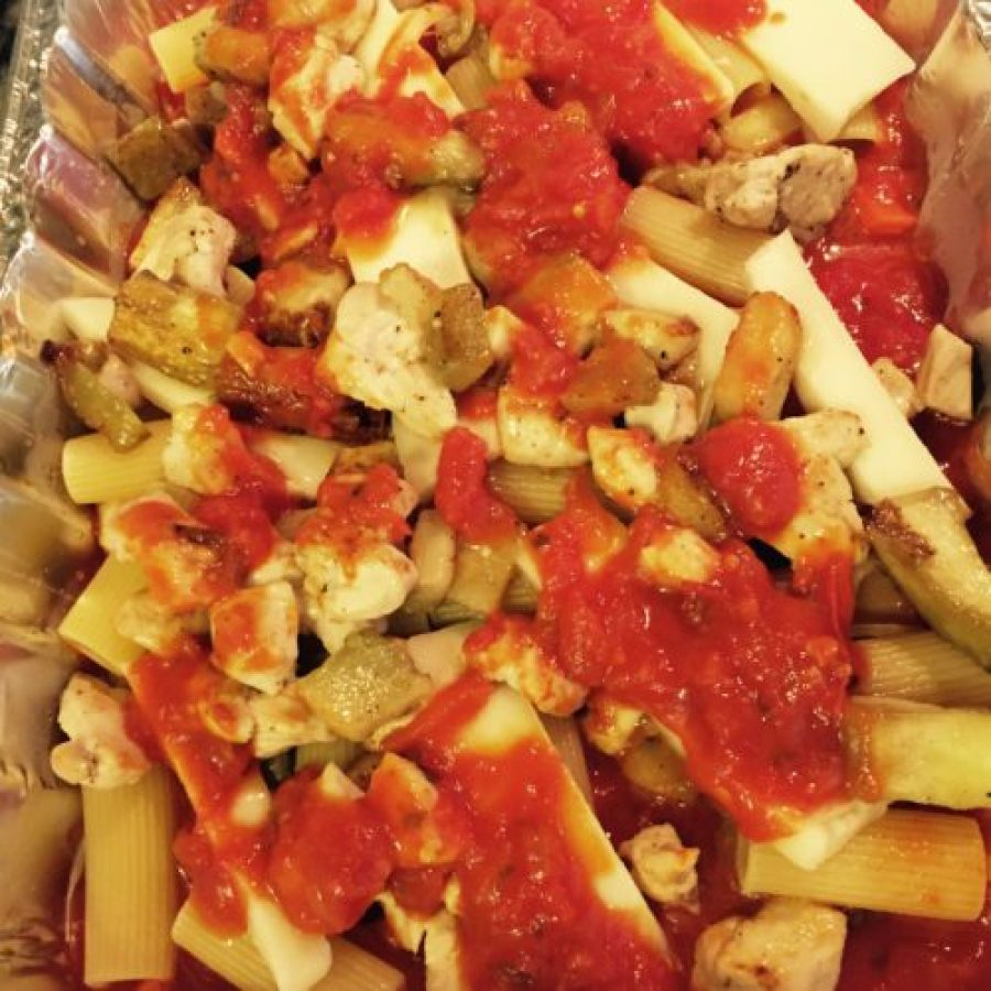 Baked rigatoni with Chicken and Eggplant poppopcooks.com