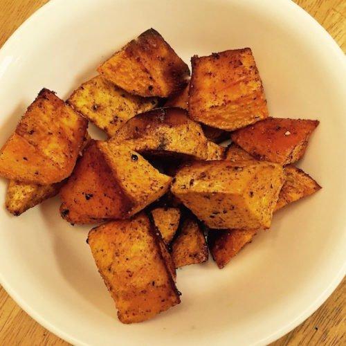 Baked Sweet Potato Chunks with Cinnamon poppopcooks.com