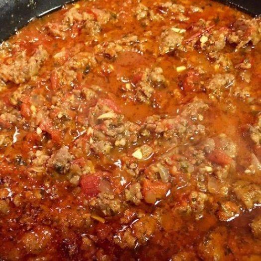 talian Sausage Tomato Sauce on Grilled Eggplant2 poppopcooks.com
