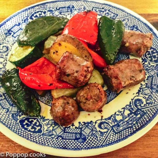 Oven Baked Italian Sausage with Mediterranean Veggies-poppopcooks.com