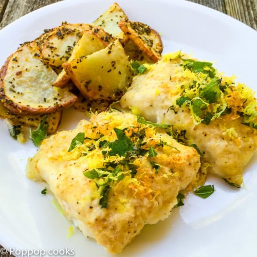 Baked Cod Filets with Lemon and Mint-4-poppopcooks.com