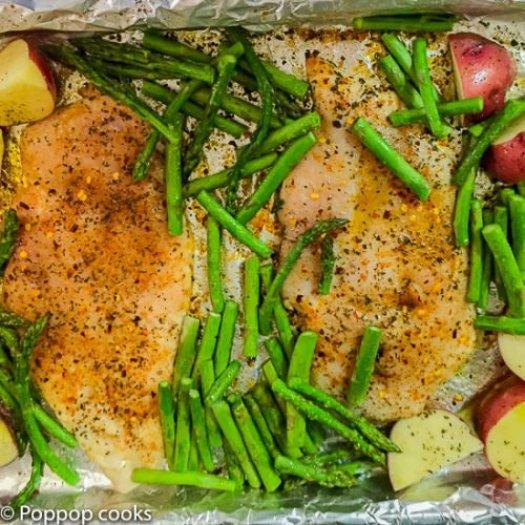 One Pan Oven Baked Chicken Dinner-2-poppopcooks.com