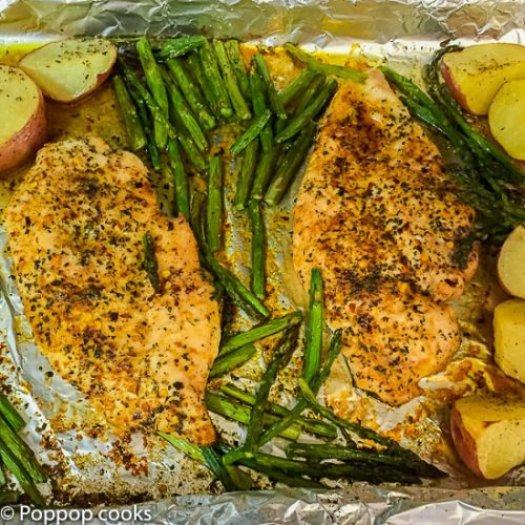 One Pan Oven Baked Chicken Dinner-3-poppopcooks.com