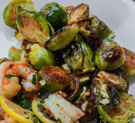 Pan Seared garlicky Brussel Sprouts-poppopcooks.com
