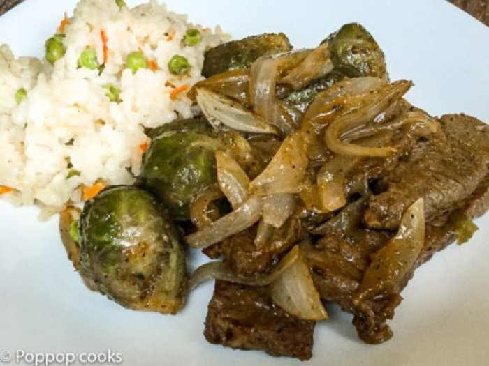 Pan Fried Beef Strips and Brussels Sprouts-6-poppopcooks.com
