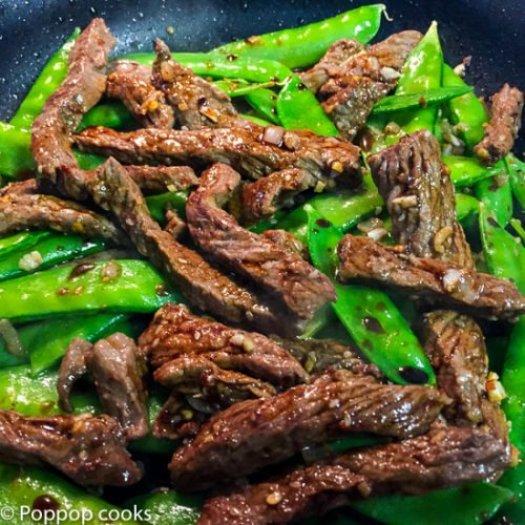 Stir Fried Beef and Snow Peas-4-poppopcooks.com