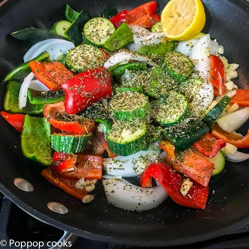 Mediterranean Diet Shrimp Dinner-poppopcooks.com-one skillet-gluten free-quick and easy-Italian