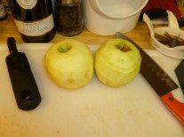 3 apples peeled
