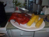 Cooked lobster and corn