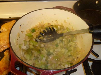 Stock, Onions, Tomatillos, Jalapenos Cooking