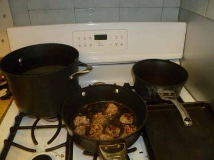 Noodles & Meatballs Cooking