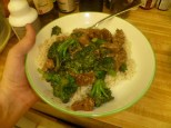 Stir-Fried Beef & Broccoli with Rice Plated